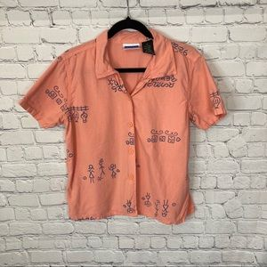 Vintage Erika & Co. Peach Button Up Shirt Small